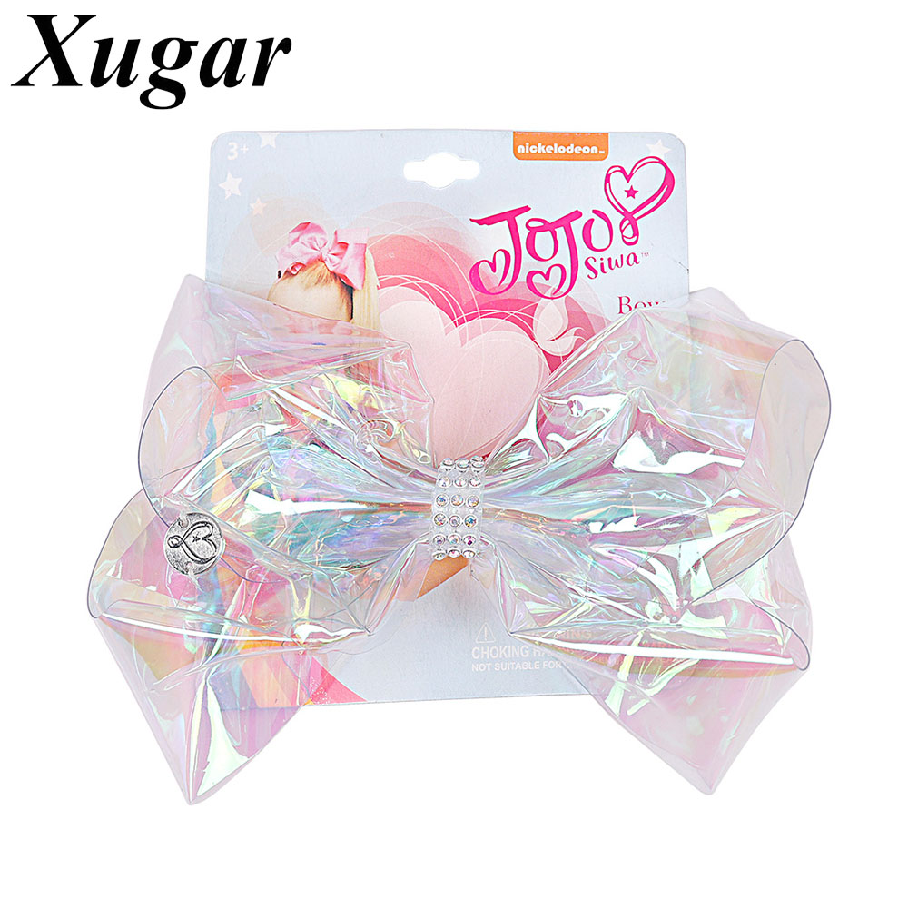 6 Transparent Rainbow Plastic Hair Bow For Girls Hair Clips With Rhinestone Gift Card Children Dance Party Hair Accessories