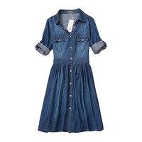 Высокое качество осень платье из джинсовой ткани одежда Большие размеры женские джинсы платье элегантные весенние узкие ковбойские повсед...
