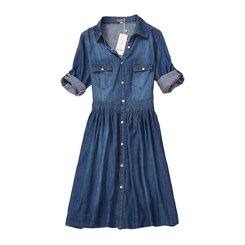 Высокое качество осеннее джинсовое платье одежда плюс размер женское джинсовое платье Элегантное весеннее тонкое Ковбойское Повседневное платье vestidos