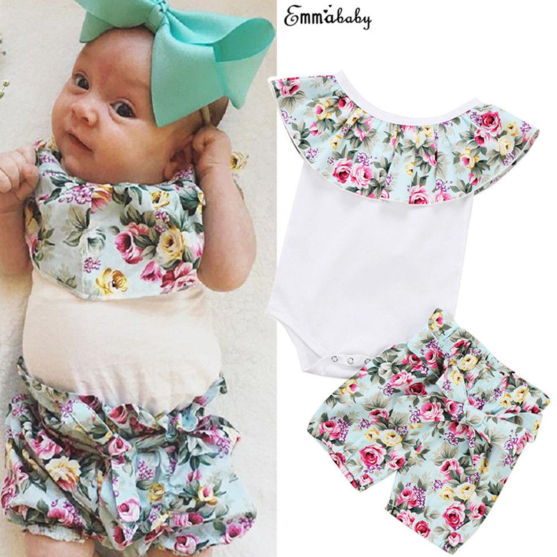 Lovely Toddler Newborn Infant Baby Girl Clothes Set Bodysuit Sleeveles Jumpsuit Tops Floral Shorts 2Pcs Outfit Clothing us stock floral newborn baby girls lace romper pants headband outfit set clothes infant toddler girl brief clothing set playsuit