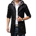 2016 British Style Fashion Mens Clothing Long Trench Coat Men Slim Fit Windbreaker Detachable Hooded Black Khaki Trench Coat Men