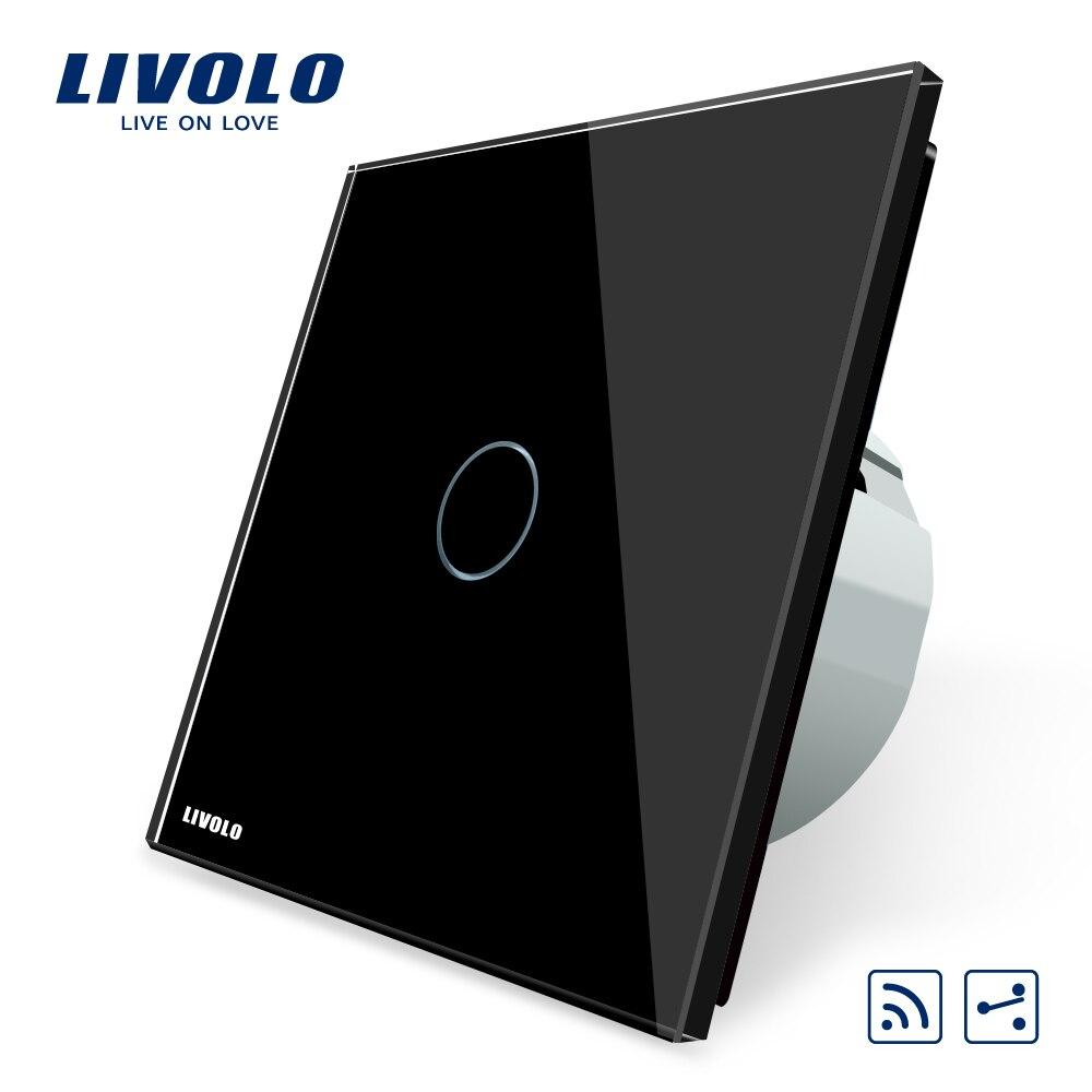 Interrupteur en verre cristal noir, norme Livolo EU, VL-C701SR-12, 1 commutateur de télécommande à 2 voies, commutateur intermédiaire et à distance