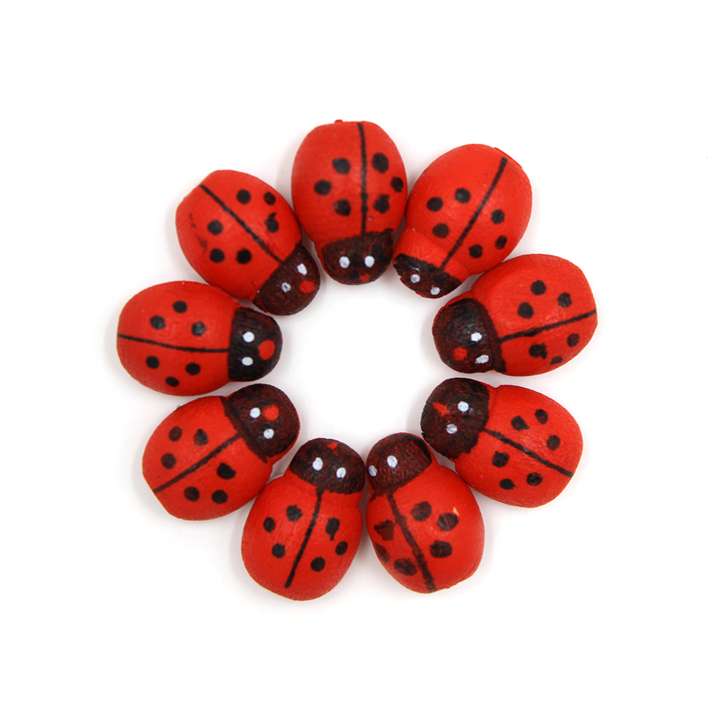 200Pcs Wooden Ladybird Ladybug Sticker Children Kids Painted Adhesive Back DIY Craft Hom ...