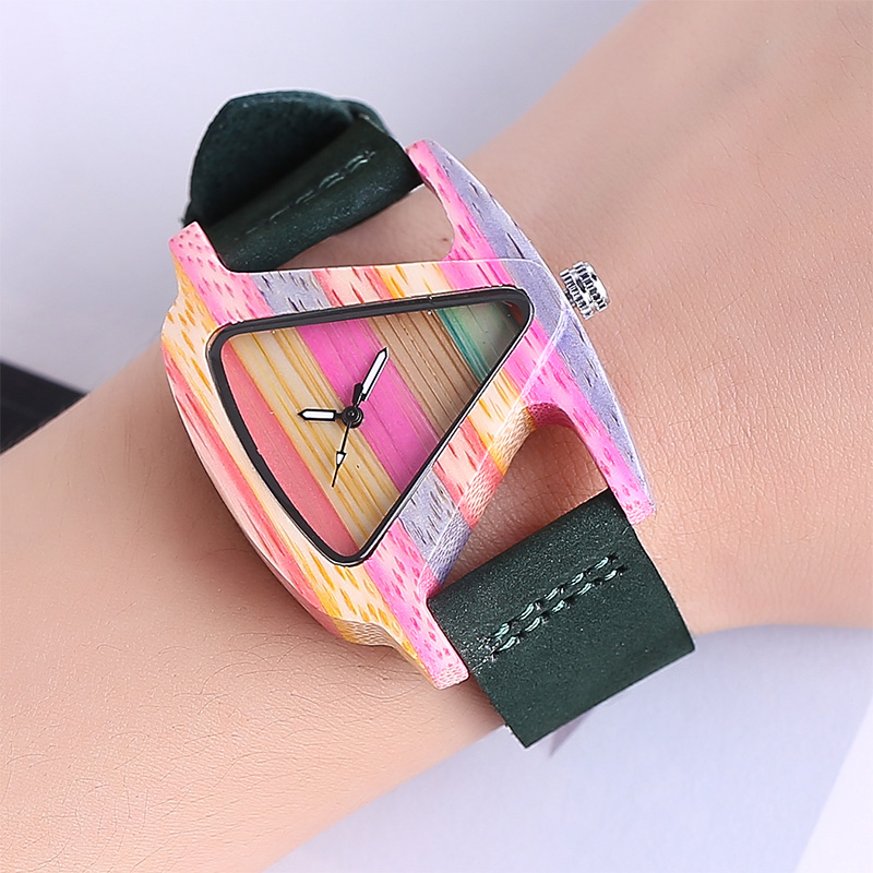 Wood Watch Women Fashion Quartz Wooden Bamboo Watch Colorful Triangle Dial Creative Watch Unique Ladies Wristwatch Geneva 2017 newest color of bamboo wood watch for women fashion tiangle wooden wristwatch for gifts quartz clock in a box