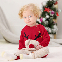 купить Xmas Baby Rompers Winter Thick Climbing Clothes Newborn Boys Girls Warm Romper Knitted Sweater Christmas Deer Outwear DS29 по цене 369.95 рублей