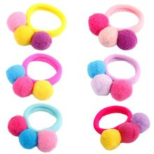 Children Girl No Crease Scrunchies Bright Candy Colored Pompom Ball Hair Tie Rubber Band Princess Seamless Towel Ponytail Holder