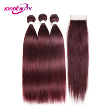 Human Hair Bundles With Closure 99J Color Wine Red Burgundy Pre-colored 4x4 Swiss Lace Brazilian Straight Remy Free Middle Part(China)