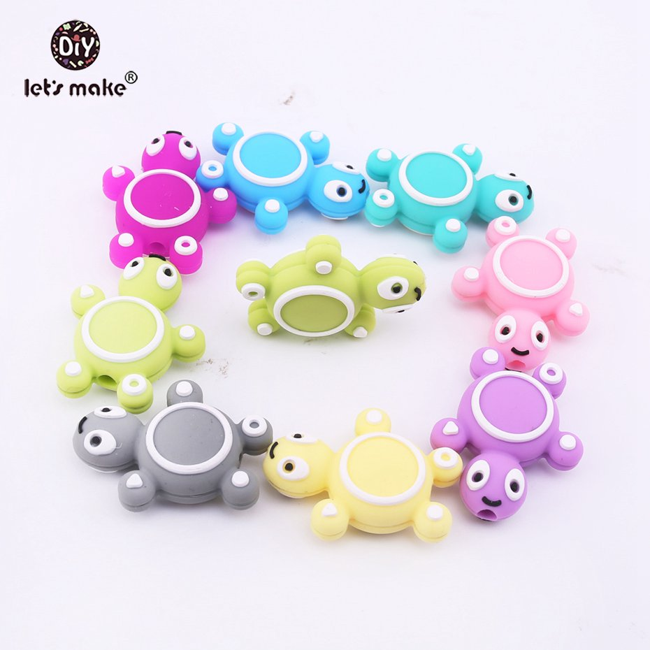 Let's Make Baby Teethers Silicone Turtle 5PCS 4-6 Months Wholesale DIY Tortoise Food Grade Pet Rodent Teething Toys Accessories
