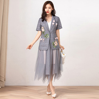 VERDEJULIAY Designer New Runway Twinsets 2019 Summer Fashion Houndstooth Flower Embroidery Blazers Top + Calf Length Skirt Suit