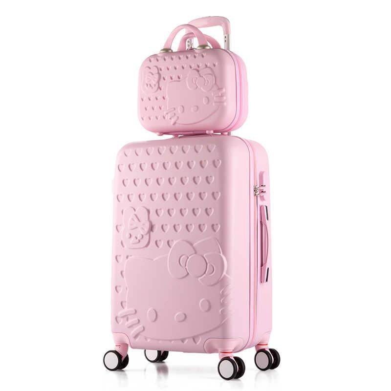 Чемодан на колесиках hello kitty, милый комплект, багаж на колёсиках, Женский чемодан для макияжа на колесах, Дорожный чемодан для багажа на колесиках