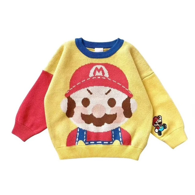 ccdef8fc3cd 80-130cm Super cute Kid s cartoon pullover toddler boys and girls cotton knitted  sweaters embroidery patterns