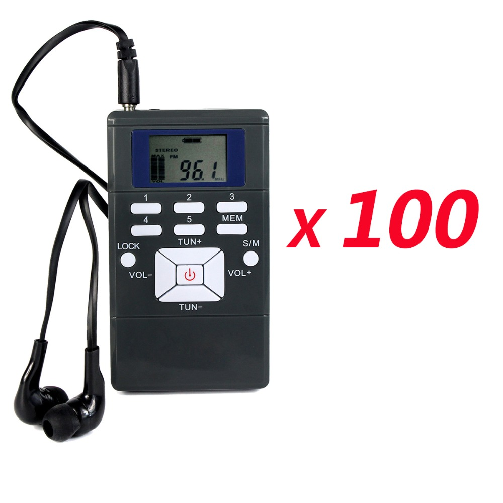 100pcs DSP Radio Portable FM Radio Receiver Pocket Radio for Large meeting with Earphone Best Y4305