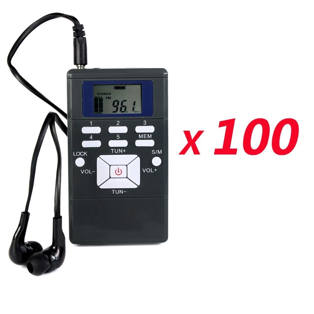 100pcs DSP Radio Portable FM Radio Receiver Pocket Radio for Large meeting with Earphone Best Y4305 niorfnio portable 0 6w fm transmitter mp3 broadcast radio transmitter for car meeting tour guide y4409b