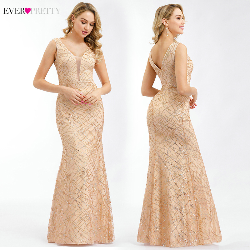 Ever Pretty Rose Gold Evening Dresses V-Neck Sleeveless Sexy Formal Party Dresses Little Mermaid Dresses Vestidos Compridos 2019