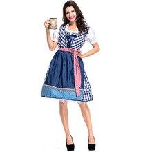 Umorden German Bavarian Oktoberfest Costume Disfraces Women Bar Club Beer Maid Waiter Cosplay Blue Plaid Dress