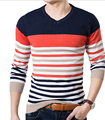 FGGS Alta Calidad Casual Sweater Hombres Jerseys de invierno Que Hace Punto de manga larga con cuello en v delgado Suéteres Tejidos de Punto