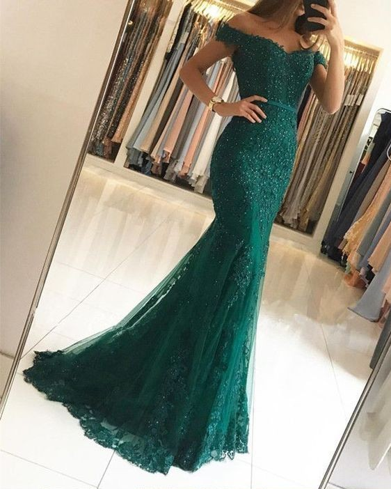 Charming Red Green Lace Mermaid Long   Evening     Dresses   2019 Off The Shoulder Backless   Evening   Party Gowns With Belt Robe De Soiree