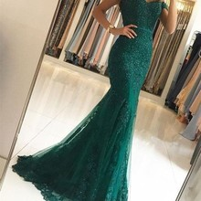 Charming Red Green Lace Mermaid Long Evening Dresses Off The