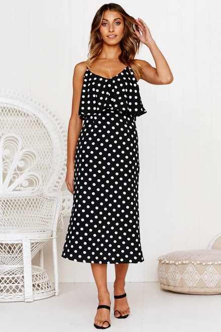 5651841ff15b ... black polka dot dress woman party spaghetti strap summer white  sleeveless v-neck clothing girls ...