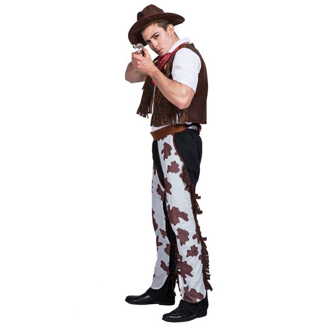 8fff6e104ff Western Cowboy Costume Mens Wild West Sheriff Adult Rodeo Fancy Dress Outfit