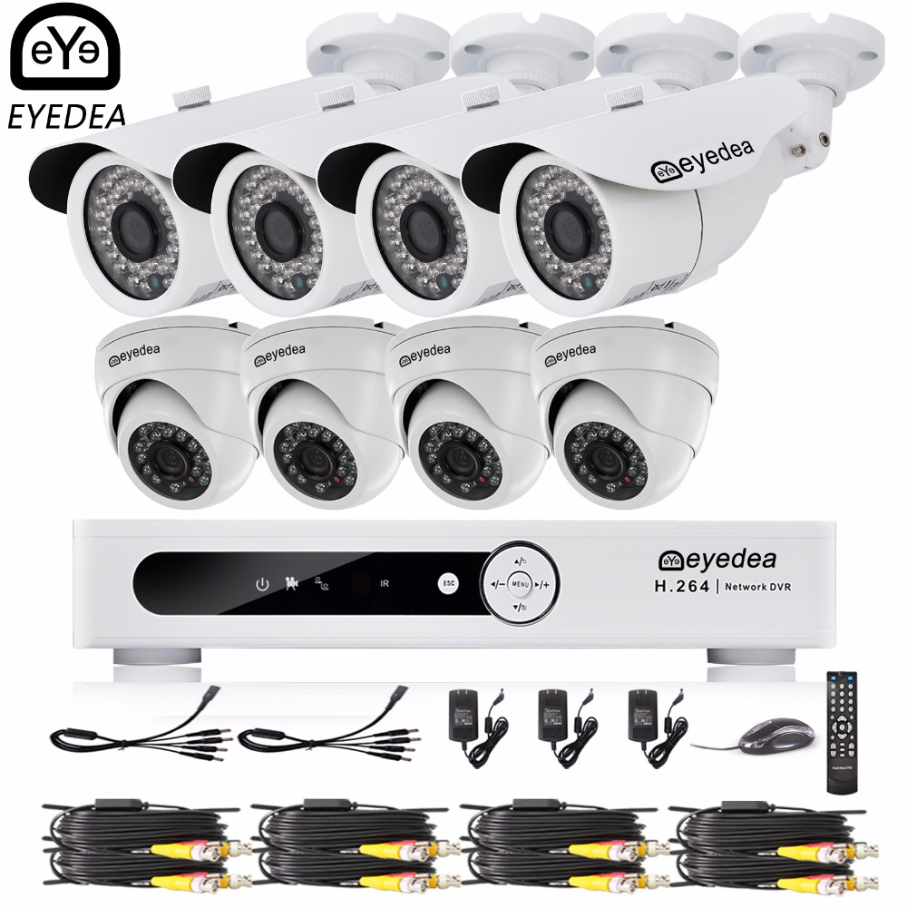 Eyedea 16 CH Remote View Video DVR 1080P Bullet Dome Outdoor Night Vision Business Home Surveillance CCTV Security Camera System remote control dvr dome camera led array sd card tv output up to 20m night vision dome camera recorder free shipping