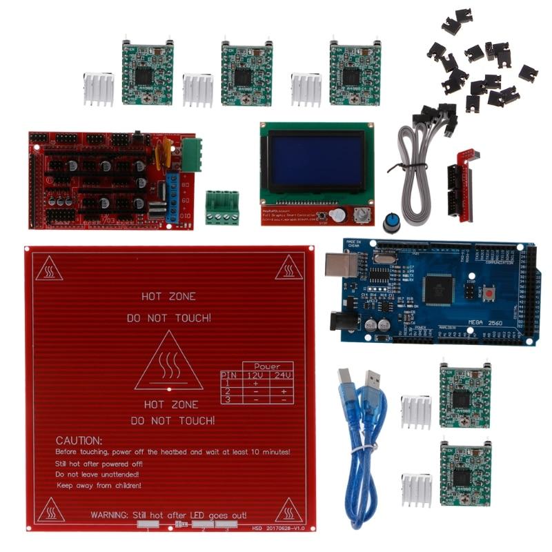 Kit de rampes Reprap 1.4 + Mega 2560 + régulateur LCD mk2b + 12864 A4988