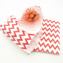 25pcs/set Chevron Popcorn Candy Kraft Paper Treat Favor Gift Bags Goodies Gift Bags Wedding Party Decoration Party Supplies goodies
