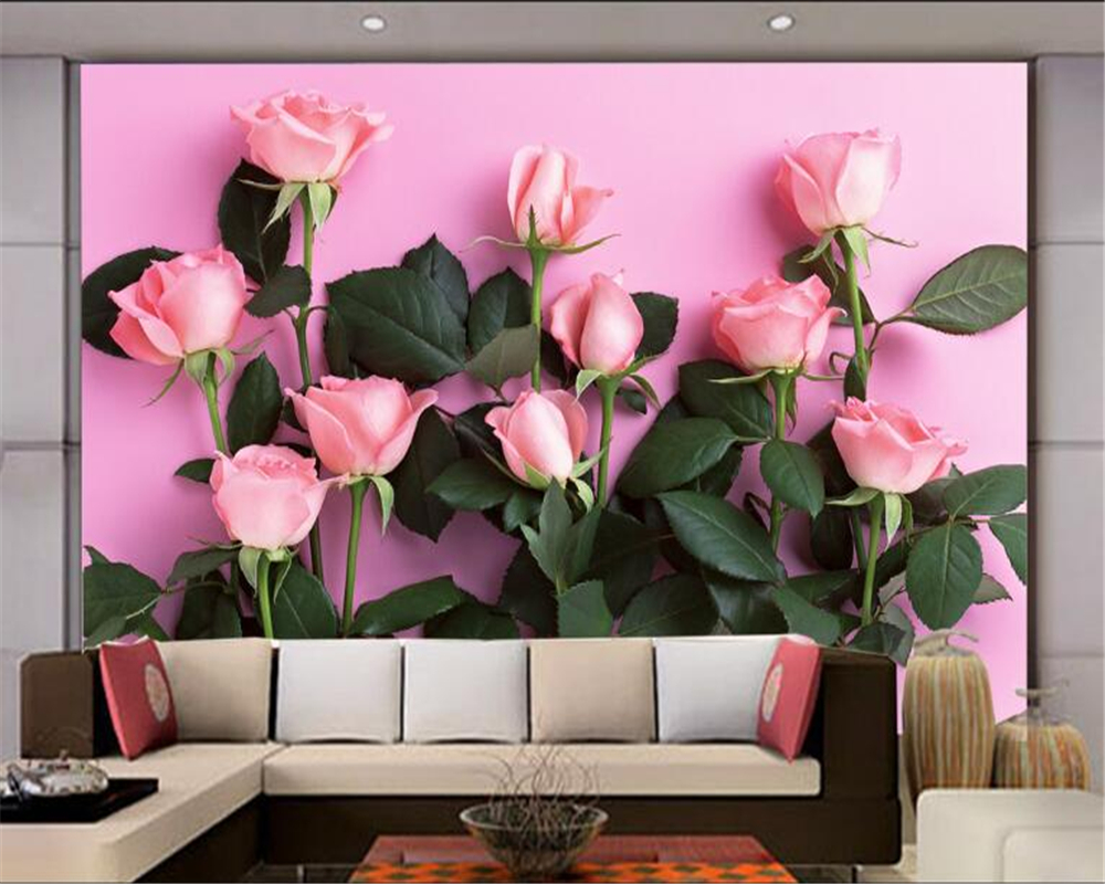 Beibehang 3D Wallpaper Modern Simple TV Backdrop Pink Rose Living Room Bedroom Background Mural Photo Wallpaper For Walls 3 D