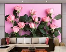 купить Beibehang 3D Wallpaper Modern Simple TV Backdrop Pink Rose Living Room Bedroom Background mural photo wallpaper for walls 3 d дешево