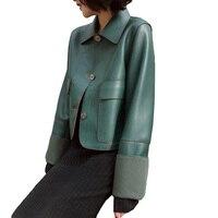 Leather Jacket for Female Spring new 2019 High end Leather Outwear Short Loose Jackets leather Women Retro Elegant Coat Feminino