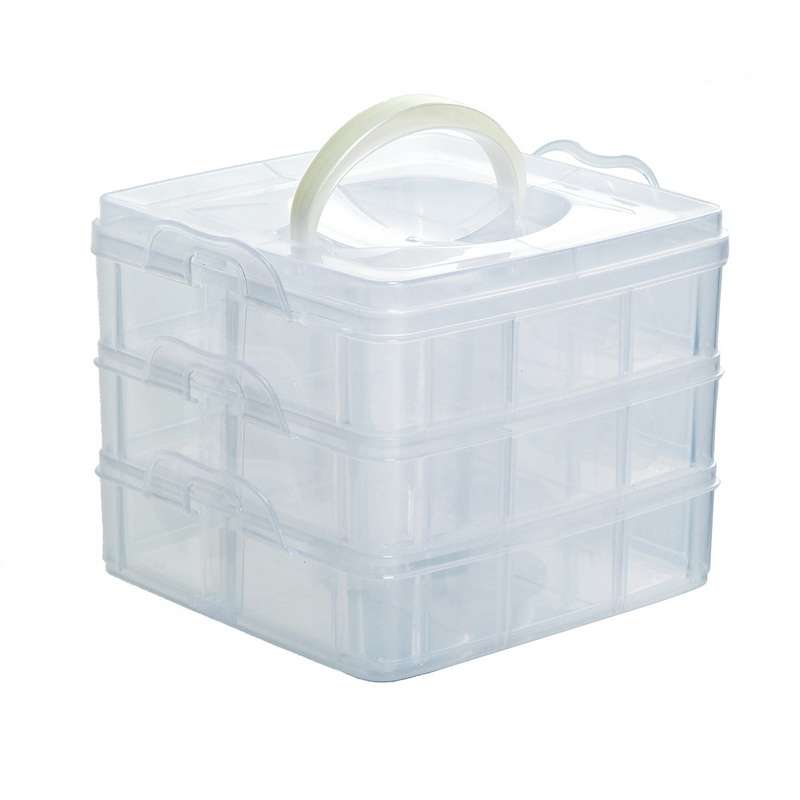 1Pc 3 Layer 18 Compartments Plastic Adjustable Box Storage Transparent Compartments Organizers Cases Covers Boxs Case Holder