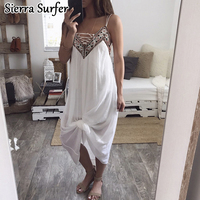 Europe And The United States Women S Explosion Chiffon Embroidered Stitching Sling Jumpsuit Skirt Beach New
