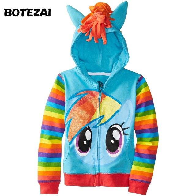 1 cái Mới 2015 Cô Gái little pony Trẻ Em Áo Khoác của Trẻ Em Dễ Thương Cô Gái Coat & Hoodies & Cô Gái Áo Khoác trẻ em Quần Áo Phim Hoạt Hình