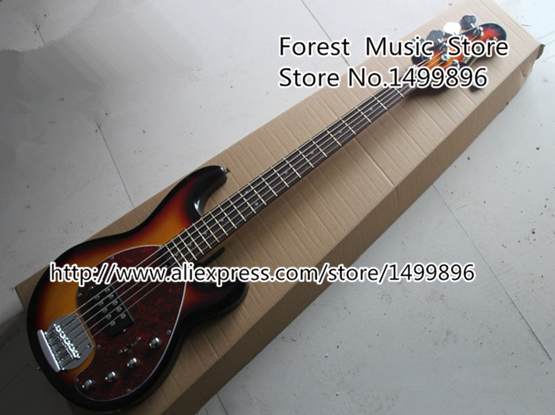 Custom 21 Shop Vintage Sunburst 5 Strings Music Man StingRey Bass Guitar from Chinese Musical Instrument Factory Lefty Custom china custom fretless 4 string music man electric bass guitar in glossy black in stock