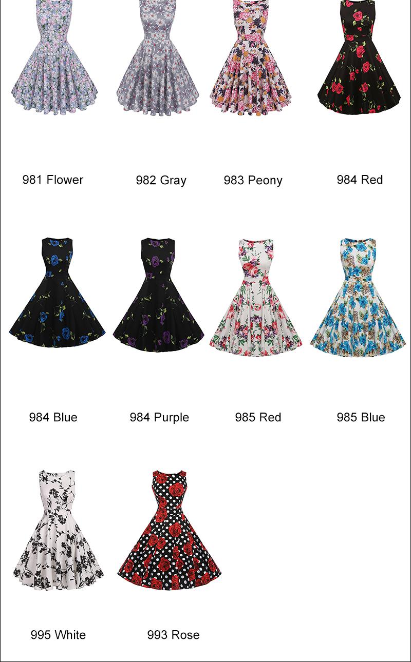 Kostlish Cotton Summer Dress Women 2017 Sleeveless Tunic 50s Vintage Dress Belt Elegant Print Rockabilly Party Dresses Sundress (97)