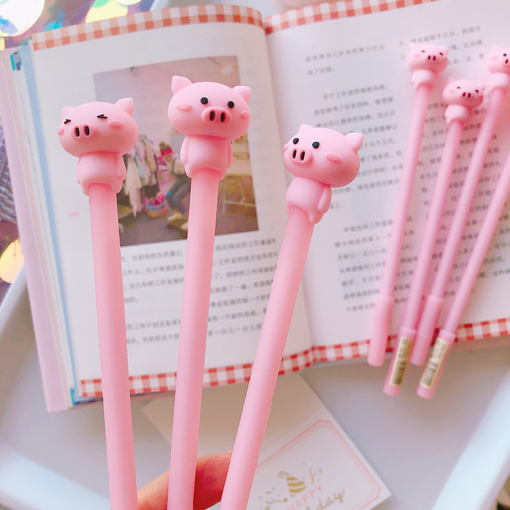 2X Cute Pink Silicone Piggy Gel Pen Rollerball Pen School Office Supply Student Stationery 0.5mm Black Ink