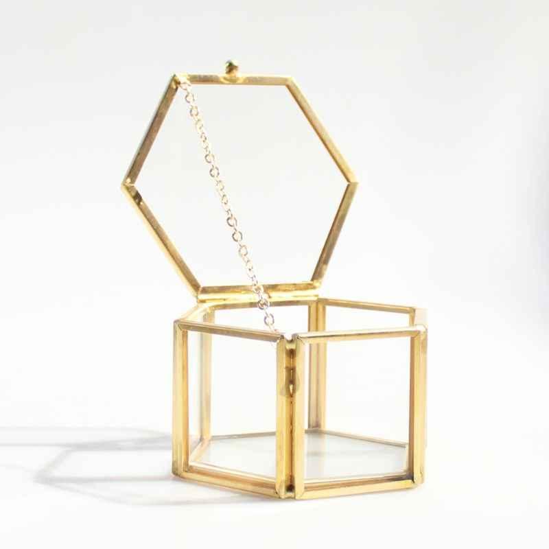 Геометрическая прозрачная стеклянная шкатулка для украшений коробочка для украшений держатель настольный суккулент растения контейнер для домашнего хранения ювелирных изделий