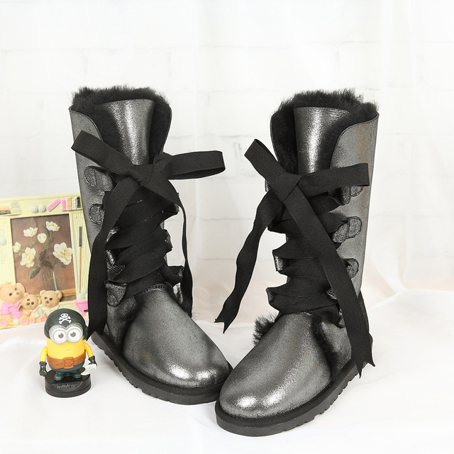 Free shipping Classic women snow boots Lady warm High boots high quality brand genuine sheepskin boots