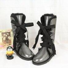 Freies verschiffen! Klassische frauen schnee stiefel Dame warme stiefel hohe qualität marke echtem schaffell stiefel, winter stiefel für frauen