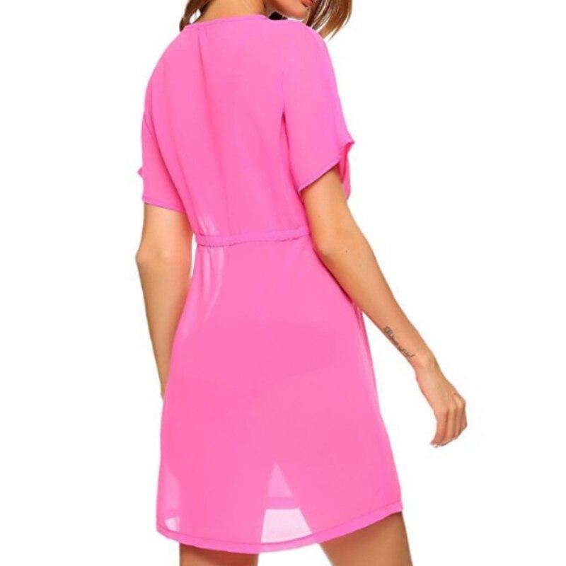 Womens Sexy Chiffon Swimsuit Cover Ups Sheer Bikini Plus Blouse