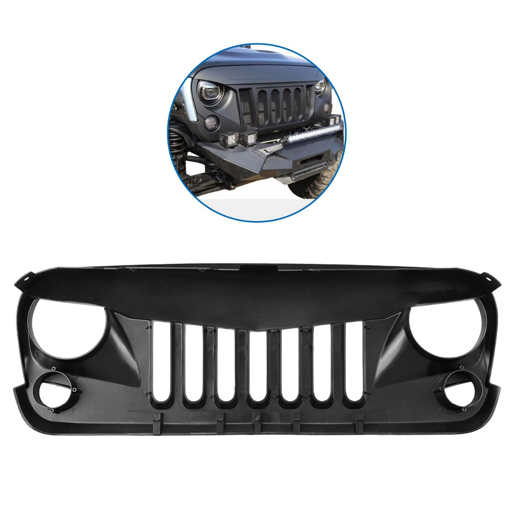 (Shipping From US) Car Front Hood Grill Grid Bumper radiator Grille Mesh Sport For 2007-2017 Jeep Wrangler Matte Black pp class front car mesh grill sport style fit for benz w203 c 2000 2006
