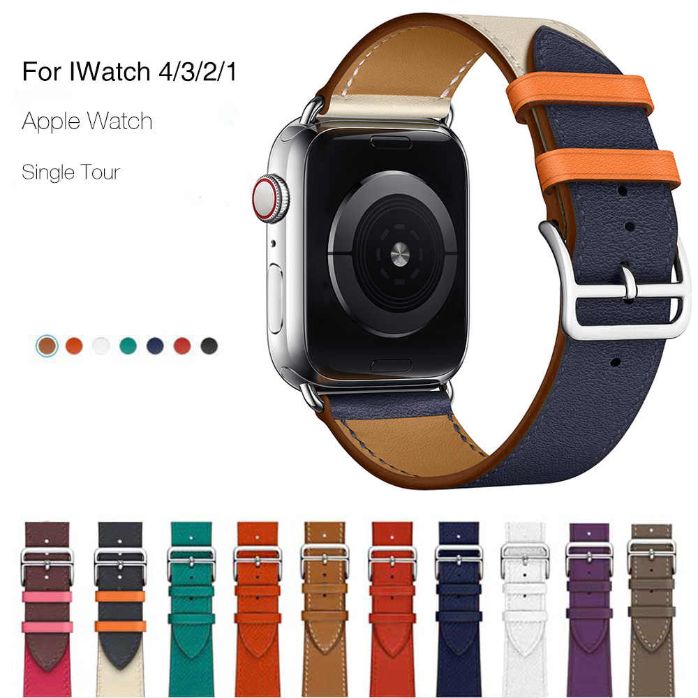 Genuine Leather Band For Apple Watch 4 44mm 40mm Series 4 3 2 1 Single Tour Classic Band Strap For IWatch 42mm 38mm Pink Buckle