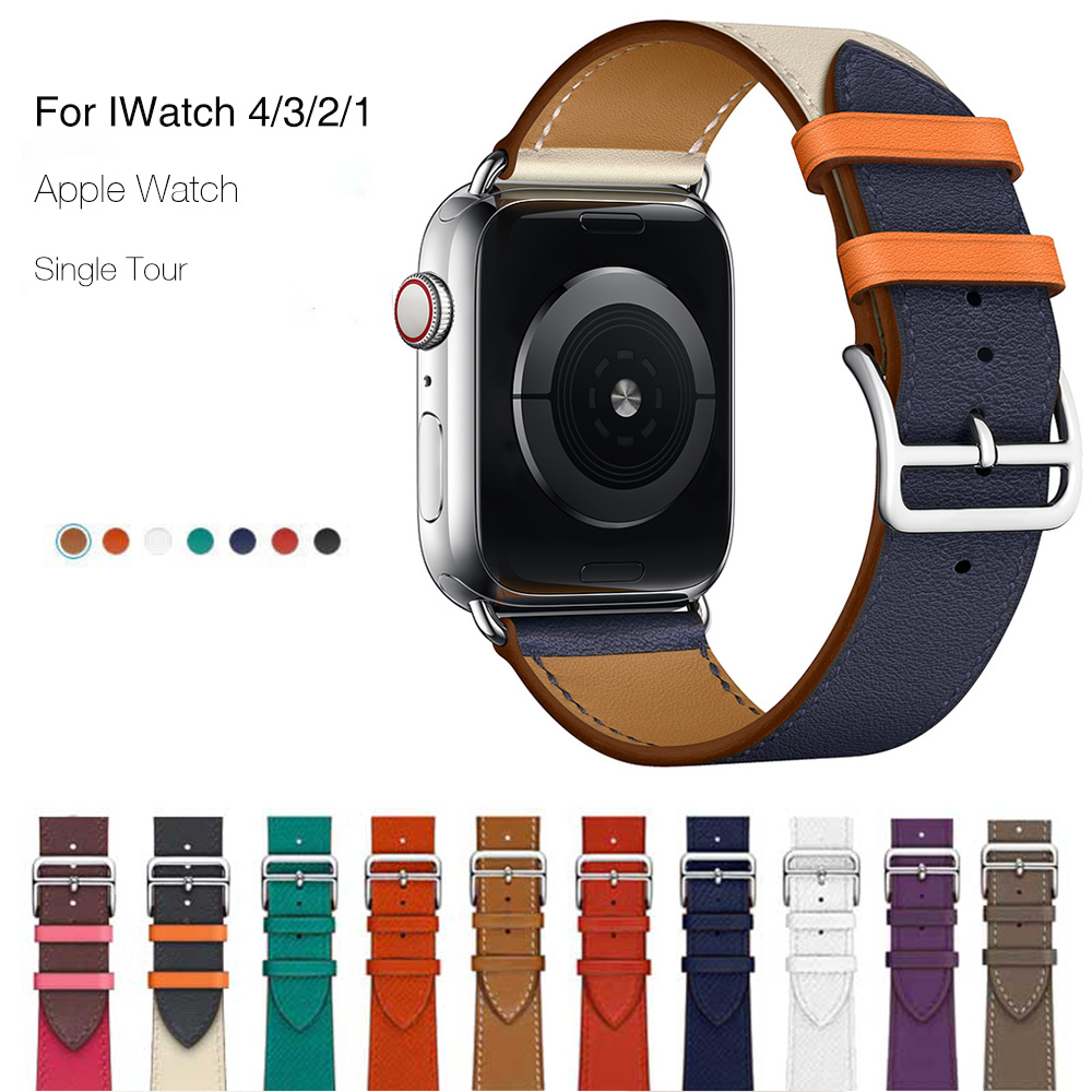 Genuine Leather Band For Apple Watch 4 44mm 40mm Series 4 3 2 1 Single Tour Classic Band Strap For IWatch 42mm 38mm Pink Buckle leather strap for apple watch 38 42mm 40 44mm single double tour genuine replacement leather band for iwatch series 1 2 3 4