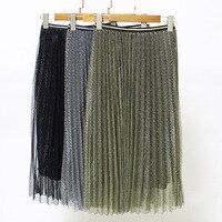 The new real shot Korean version of the 2017 metal luster elastic waist striped pleated skirt net yarn half skirt female