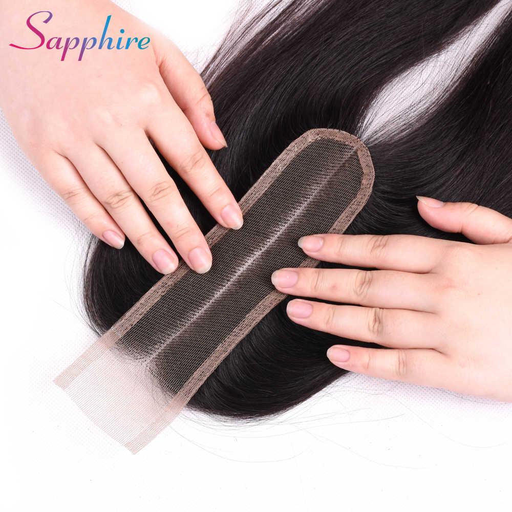 Sapphire бразильские человеческие волосы Кружева Закрытие прямые Закрытие 2x6 средняя часть с волосами младенца 100% человеческие волосы ткачество швейцарское кружево
