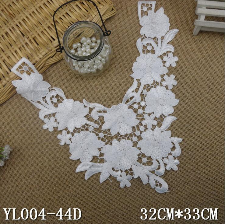 1 Piece 32*33cm Off White Embroidery Neckline Lace Applique Lace Patches Trimmings Collar DIY