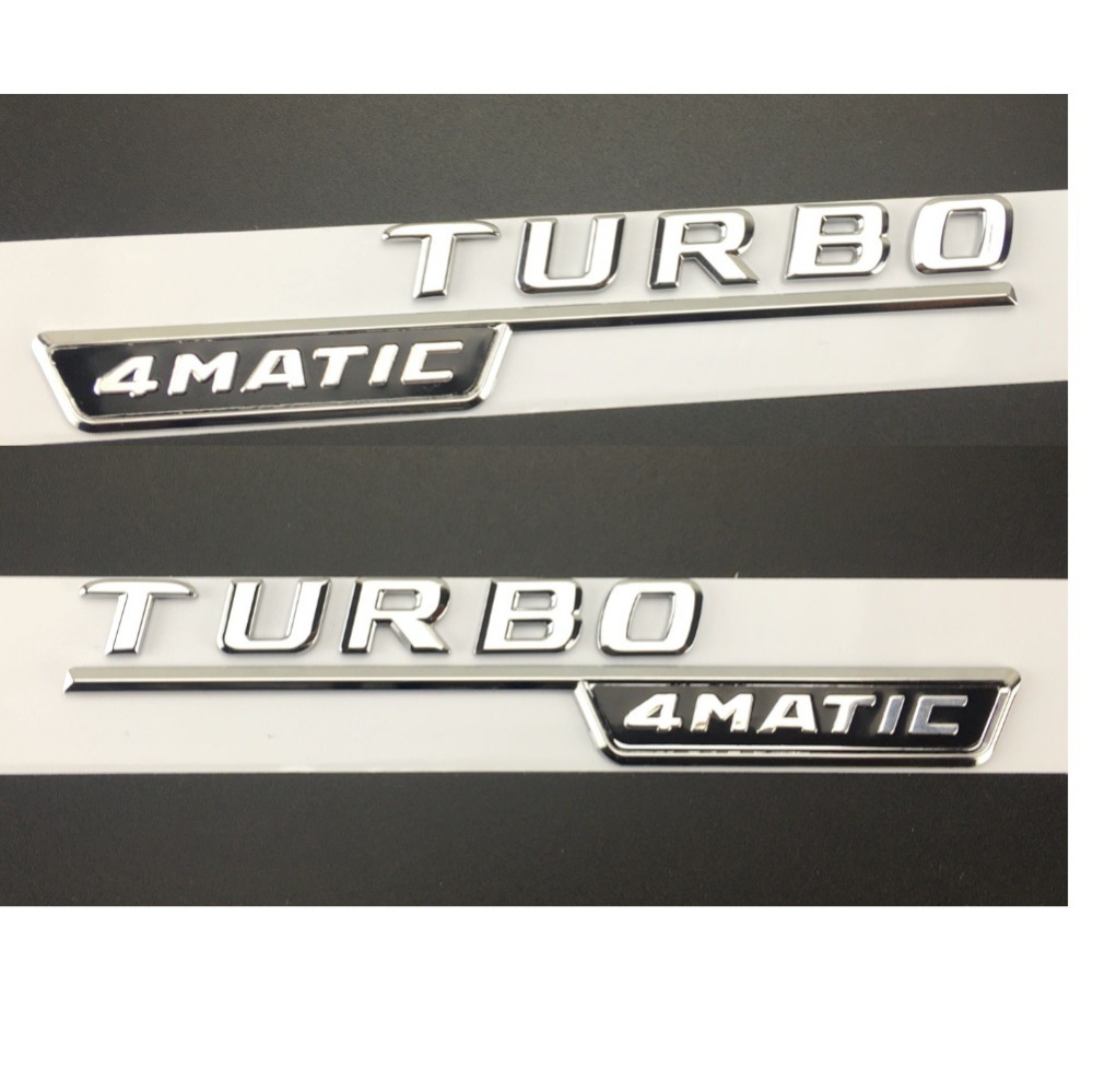 "Chrome "" TURBO 4MATIC "" Plastic Car Trunk Fender Letters Badge Emblem Emblems Decal Sticker for Mercedes Benz AMG 17 19