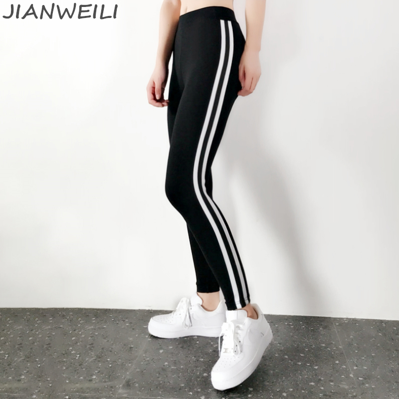 JIANWEILI Leggings Women 95%Cotton High Waist Winter Thick Pants Leggins Warm Striped Gothic Fitness legging Harajuku Trousers