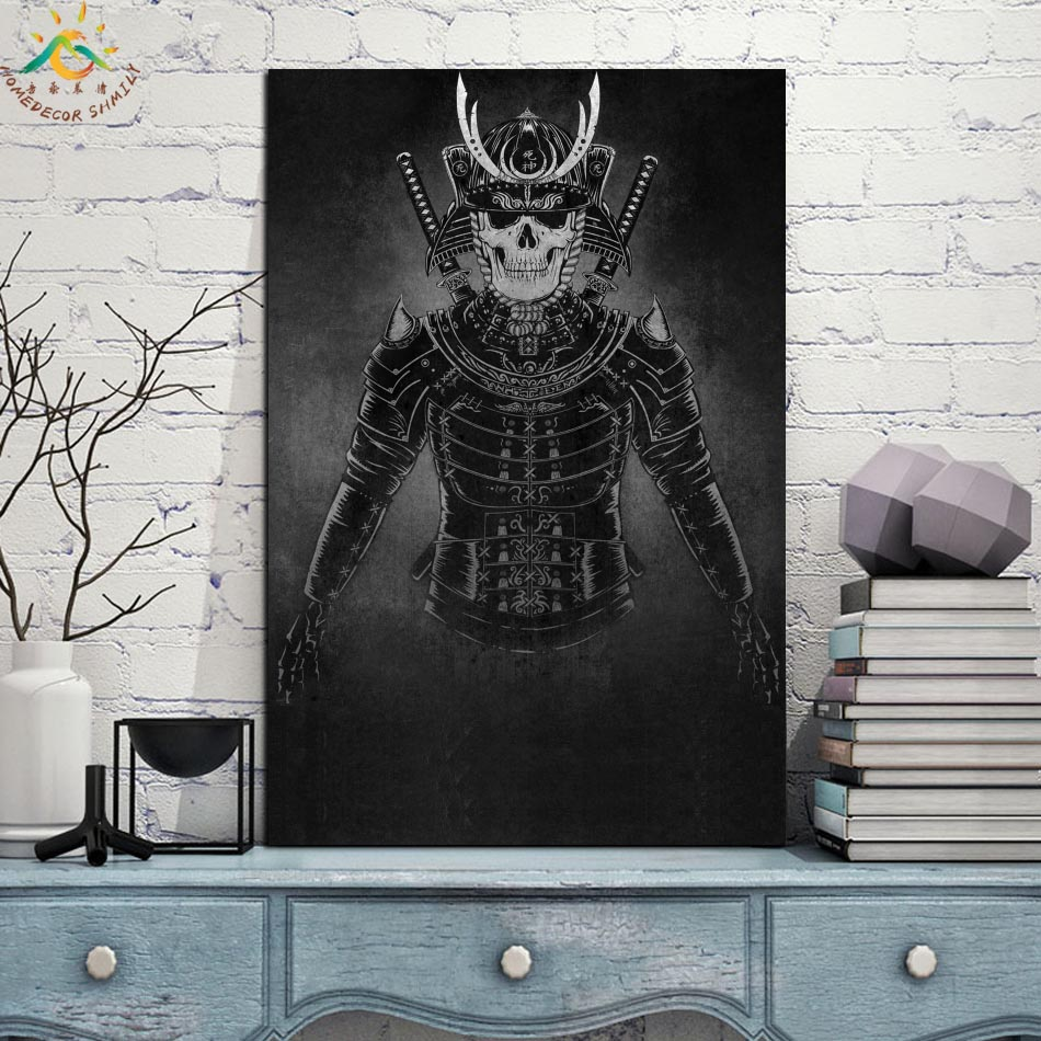 Japan Skull Samurai Single Vintage Posters and Prints Scroll Painting Canvas Wall Art Pictures Frame Painting Home Decoration in Painting Calligraphy from Home Garden