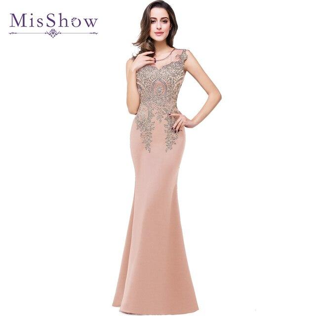 fb38ed5f5d Tanie syrenka Sheer Neck złote koronki aplikacje Nude różowe długie suknie  wieczorowe szata De wieczór Longue